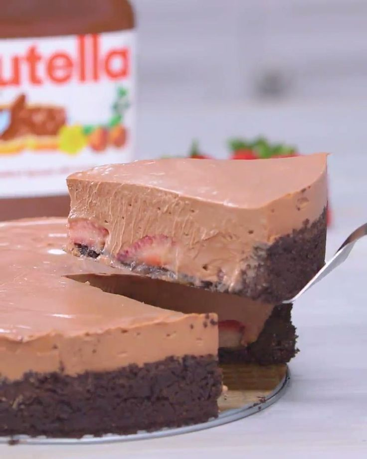 Nutella-Käsekuchen mit Erdbeeren ohne Kochen GRÜN