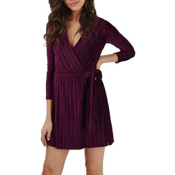 Women's Topshop Velvet Wrap Dress ($70) ❤ liked on Polyvore featuring dresses, wine, purple cocktail dresses, short dresses, purple dress, long sleeve wrap dress and purple velvet dress