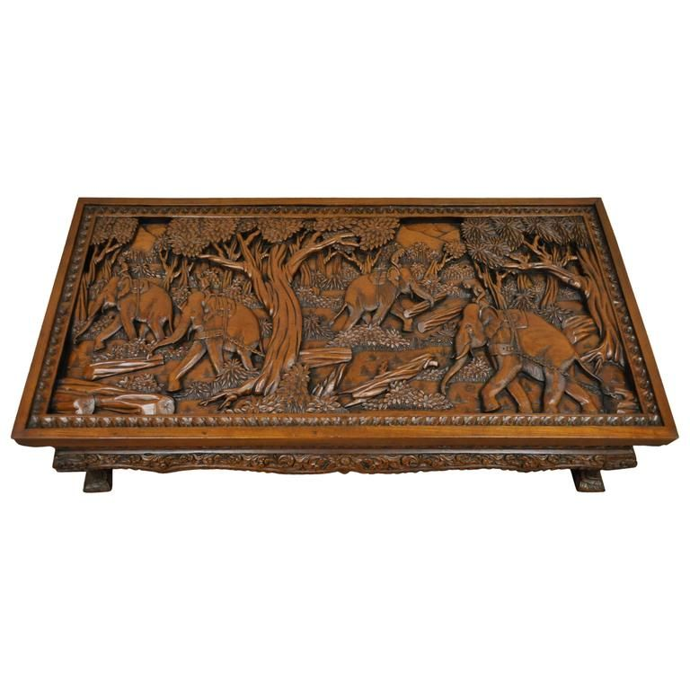 20th century vietnamese handcarved asian coffee low table