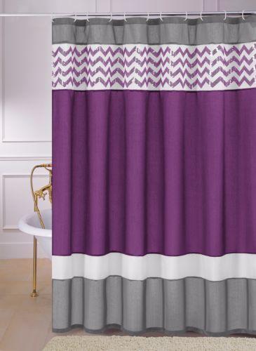Luna Purple Gray White Zig Zag Chevron Sequin Fabric Shower