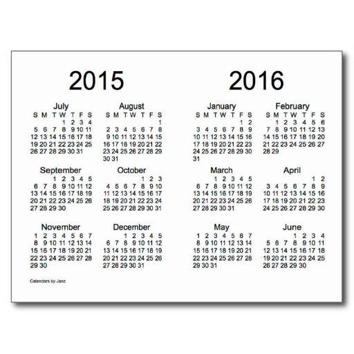 2015-2016 School Year Mini Calendar by Janz Postcard (With