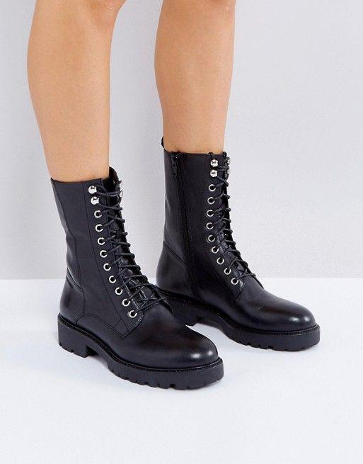 Vagabond Kenova Black Leather Flat Utility Boots at asos.com