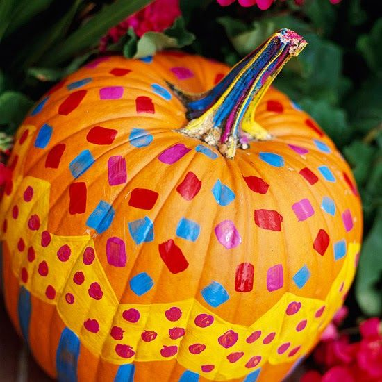Easy Painted Pumpkins  2013 Halloween Decorations Ideas Halloween