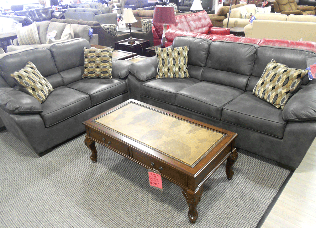 Serta Laramie Charcoal Sofa Loveseat Set Paired With An Explorer Cocktail Table Sofa And Loveseat Set Charcoal Sofa Love Seat #serta #living #room #sets