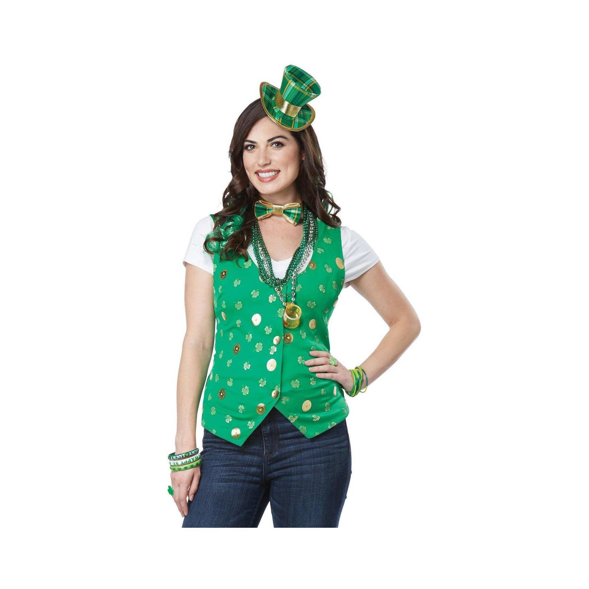 Halloween Womenu0027s Lucky Lady Kit Adult Costume Small/Medium, Multi Colored