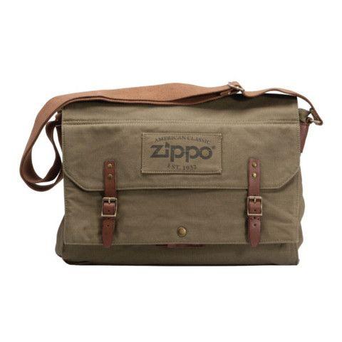 Zippo Khaki Canvas Messenger Bag