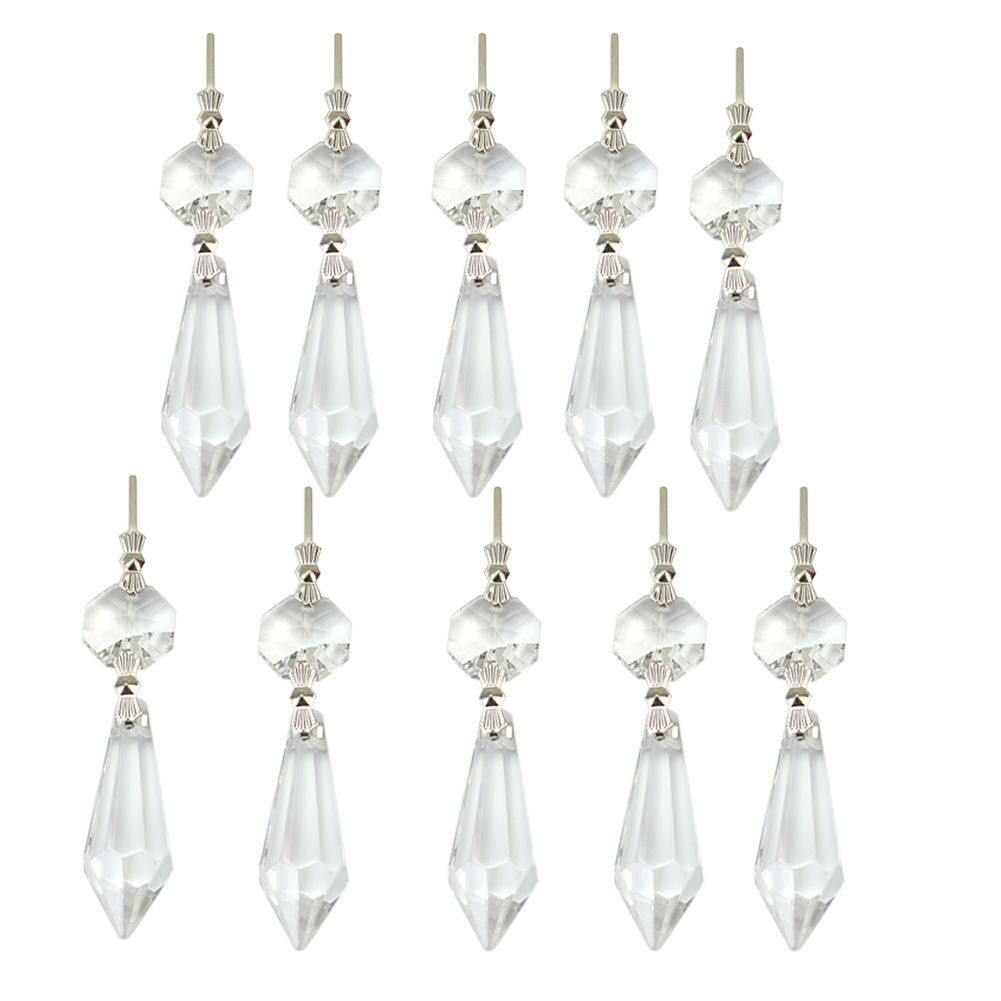 10pcs Glass Crystal Chandelier Lamp Prisms DIY Hanging Drop Pendants Decoration