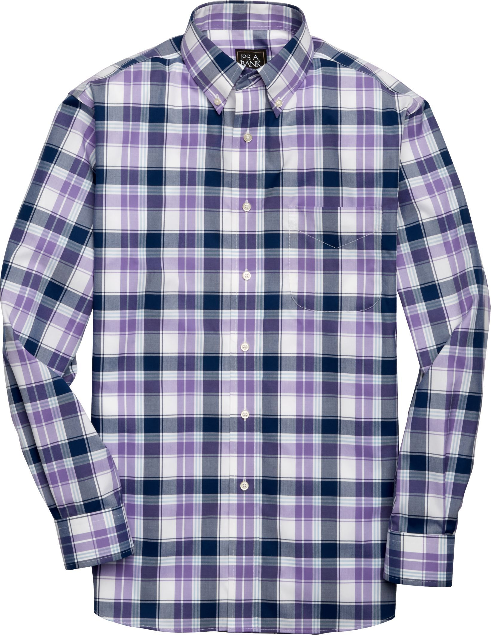 Traveler Collection Traditional Fit Button-Down Collar Plaid Sportshirt - Big & Tall
