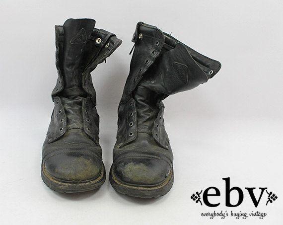 Vintage 90s Grunge Leather Combat Boots Men's Combat Boots 9.5 Women's  Combat Boots 11 Grunge Boots Work Boots Lace Up Boots