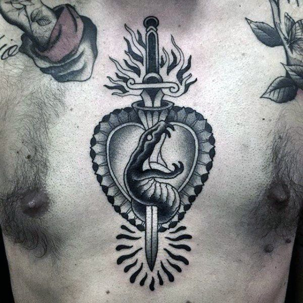 Old School Heart Tattoo On Chest