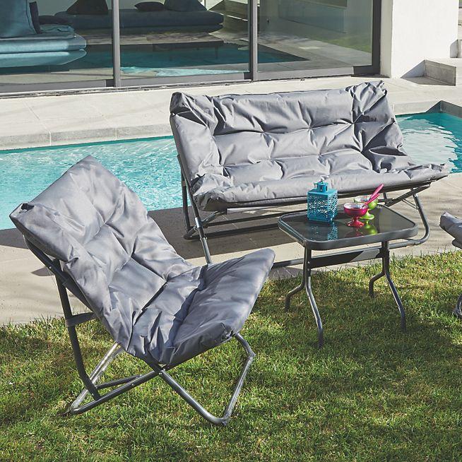 Shrink Salon de jardin pliant gris en tissu et acier (4 places ...