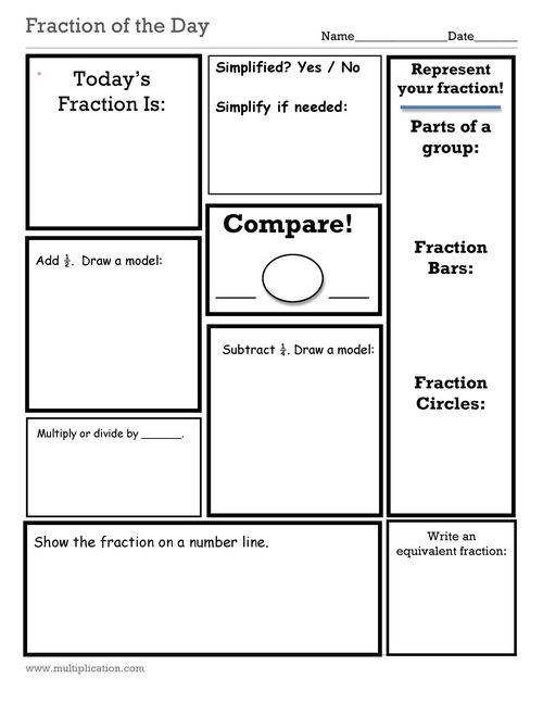 Decimal Fraction And Number Of The Day Worksheets Fraction Of The