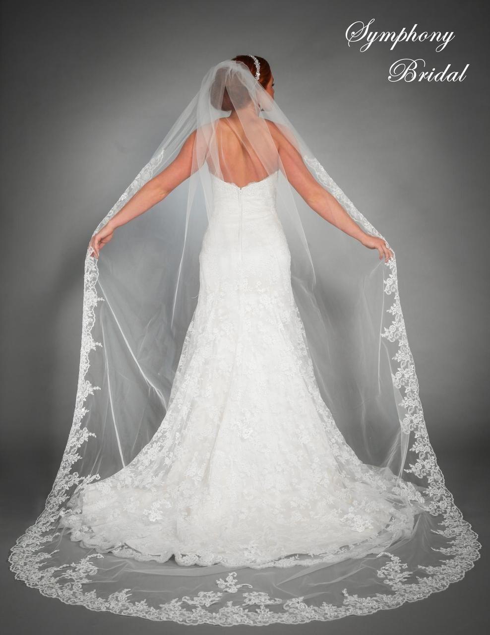 Lace Cathedral Length Wedding Veil 6442vl By Symphony Bridal Long Veils Bridal Tulle Bridal Veil Long Veil Wedding [ 1280 x 988 Pixel ]