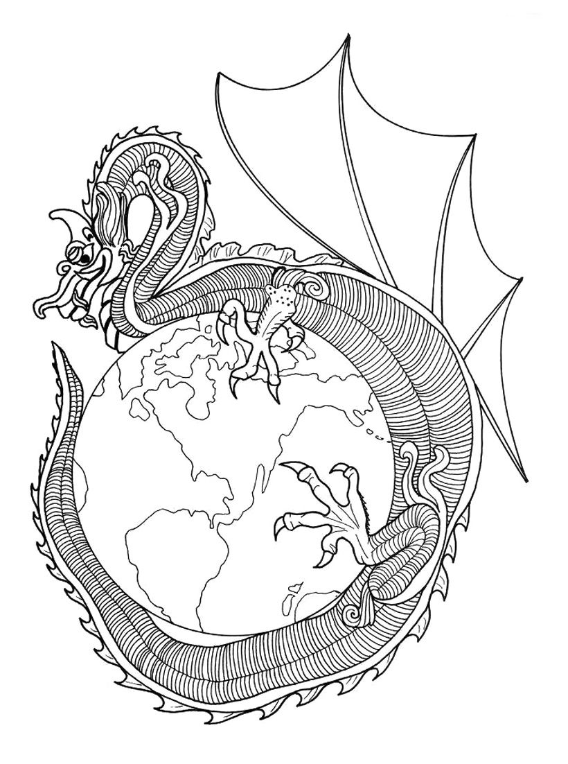 Earth Dragon Coloring Pages Mandala Coloring Pages Coloring Pages