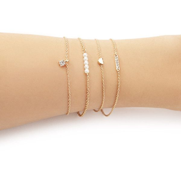 Forever 21 Forever 21 Faux Pearl Bracelet Set ($5.90) ❤ liked on Polyvore featuring jewelry, bracelets, lobster claw clasp charms, bracelet bangle, charm jewelry, pandora bracelet and jade bangle