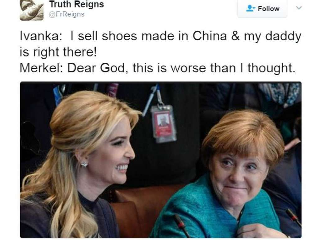 Photos of Ivanka Trump and German Chancellor Angela Merkel widely  criticized   Angela merkel, Ivanka trump and German