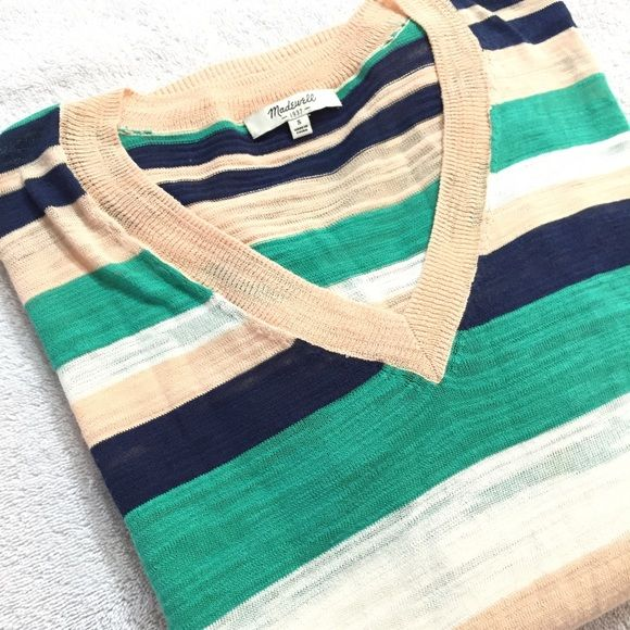 Madewell Striped V-Neck Sweater Get free shipping! Offer $6 off - acceptance of offer