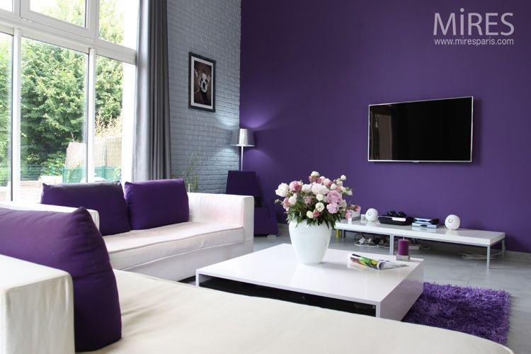 Idée Déco Salon Mur Jaune Avec Deco Salon Moderne Violet ...