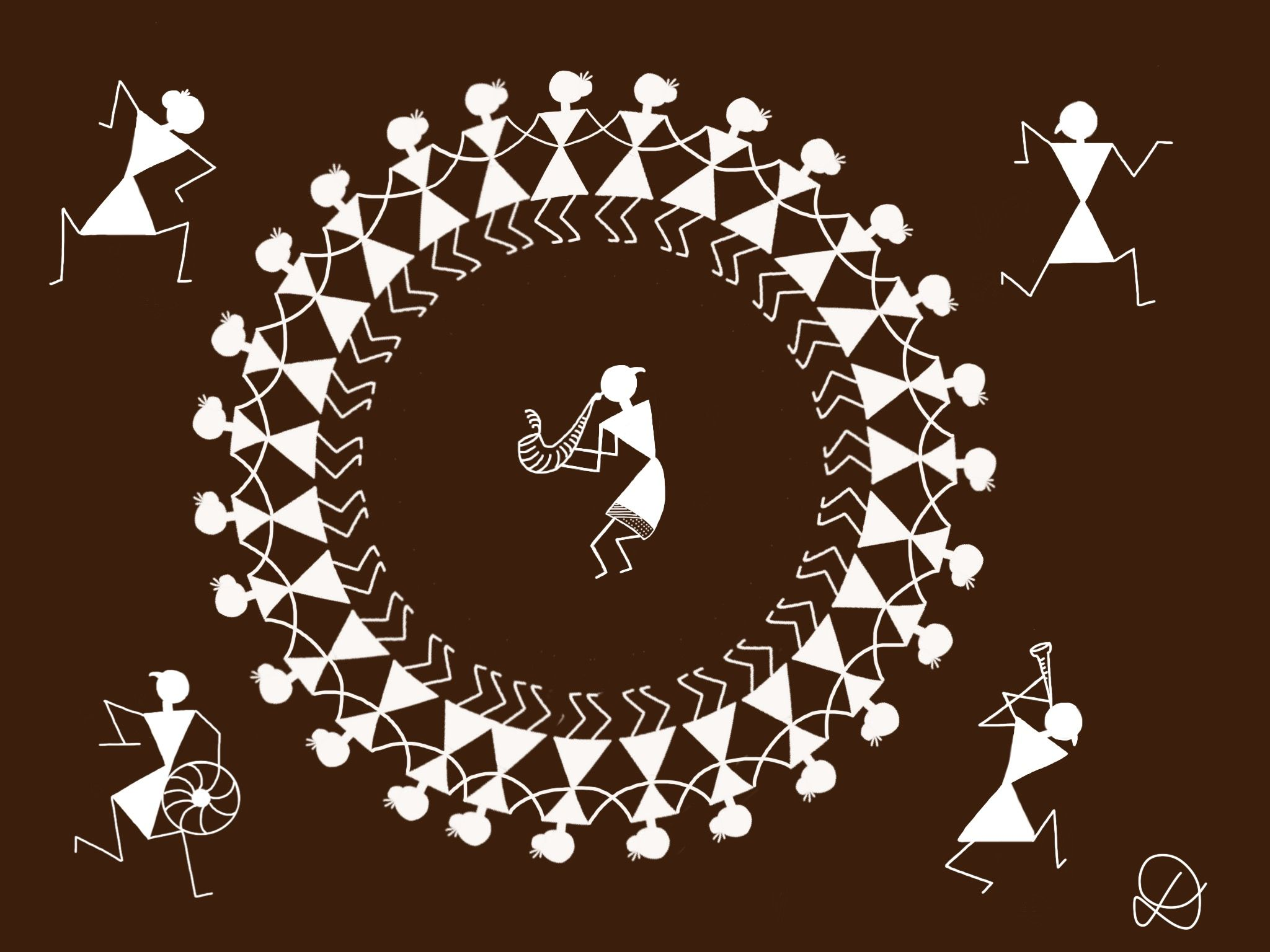 Digital Illustration inspired by Warli painting. Warli painting is a style of tribal art from India.