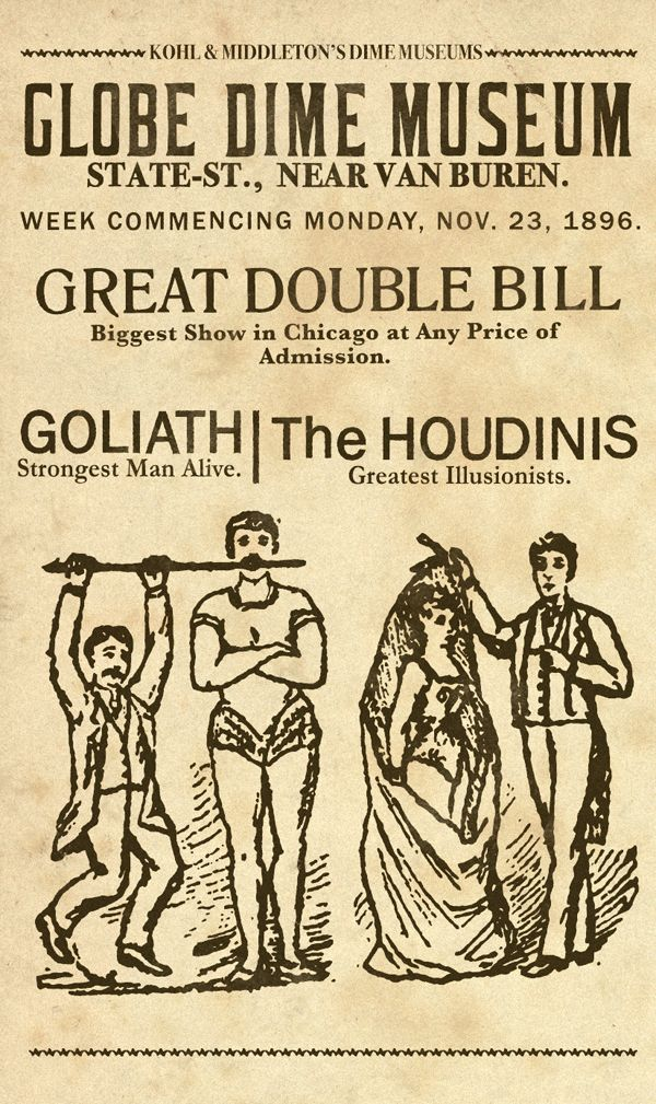 Globe Dime Museum The Houdinis Broadside Poster By Keith Tatum