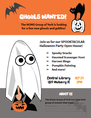 free printable halloween party flyer template for moms groups clubs