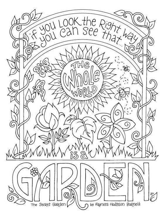 Secret Garden Coloring Page / Frances Hodgson Burnett / Quotes ...