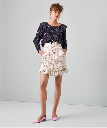02d57f0ca6 Rebecca Taylor Resort 2019  Dot Print Ruffle Top   Plaid Tweed Skirt ...