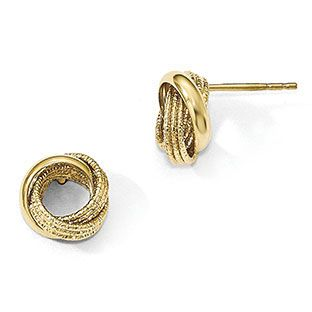84ee843b9 Dual Finish Love Knot Post Stud Earrings In 14K Yellow Gold ...