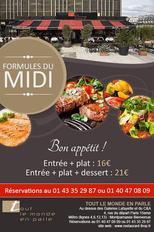 Tract publicitaire pour le midi au restaurant Tout le Monde en - restaurant flyer