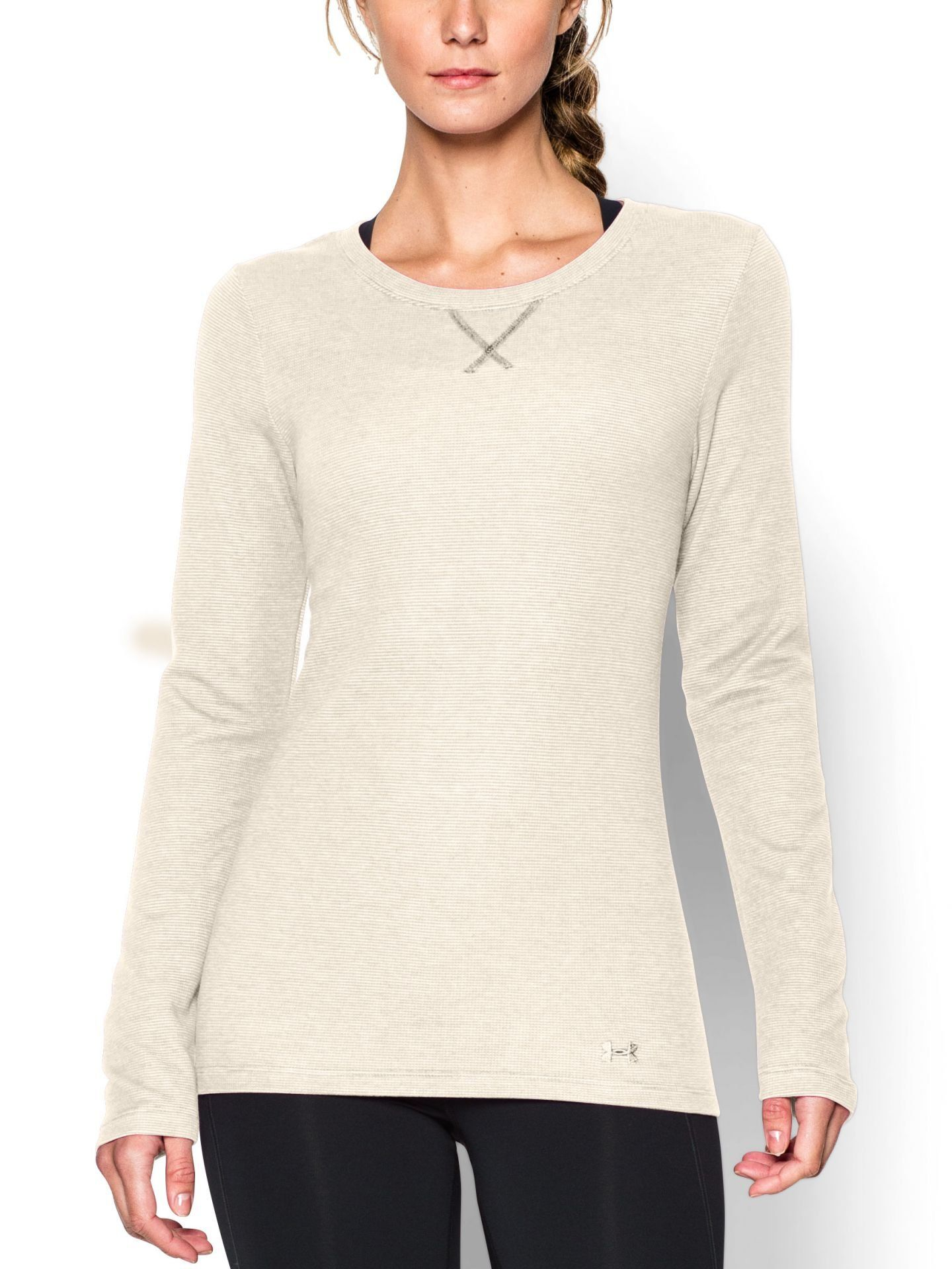 2182562a Under Armour Women's UA Cozy Waffle Long Sleeve Shirt, Tuft White, Large.  Shirt