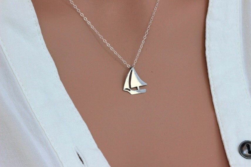 925 Sterling Silver Polished Sail Boat Open-back Textured Charm Pendant