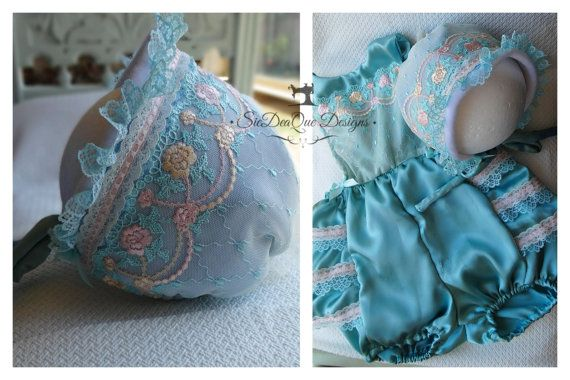 Silk Romper with Matching Bonnet #photoprop #silkromper RTS