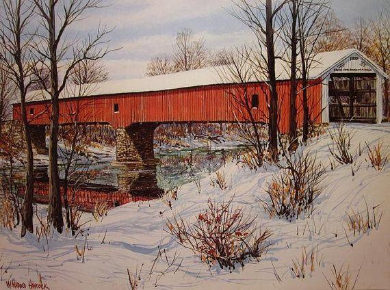Poster Wooden Bridge Under Snow Art//Canvas Print Wall Art Home Decor