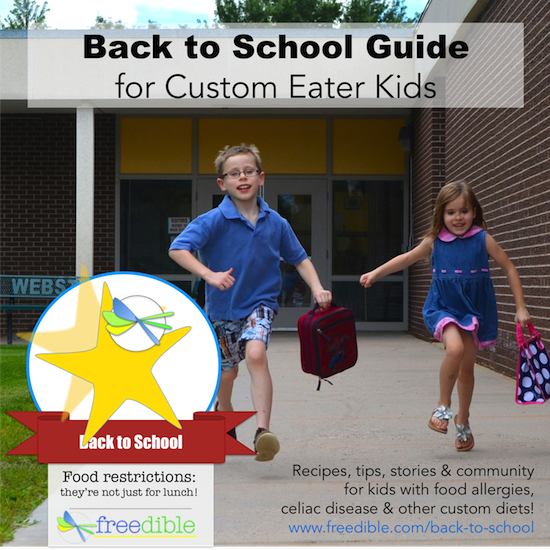 Find tips, recipes, giveaways & more in our Back to School Guide for Custom Eater Kids with food allergies, celiac disease and more! #foodallergy #celiac