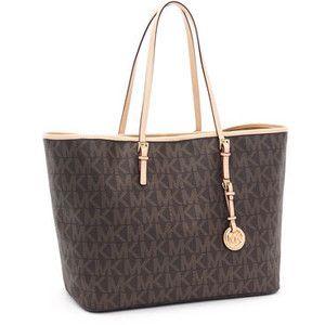 Michael Kors Jet Set Travel Logo Travel Tote Handbags Brown Black Friday  2013 Sale www.