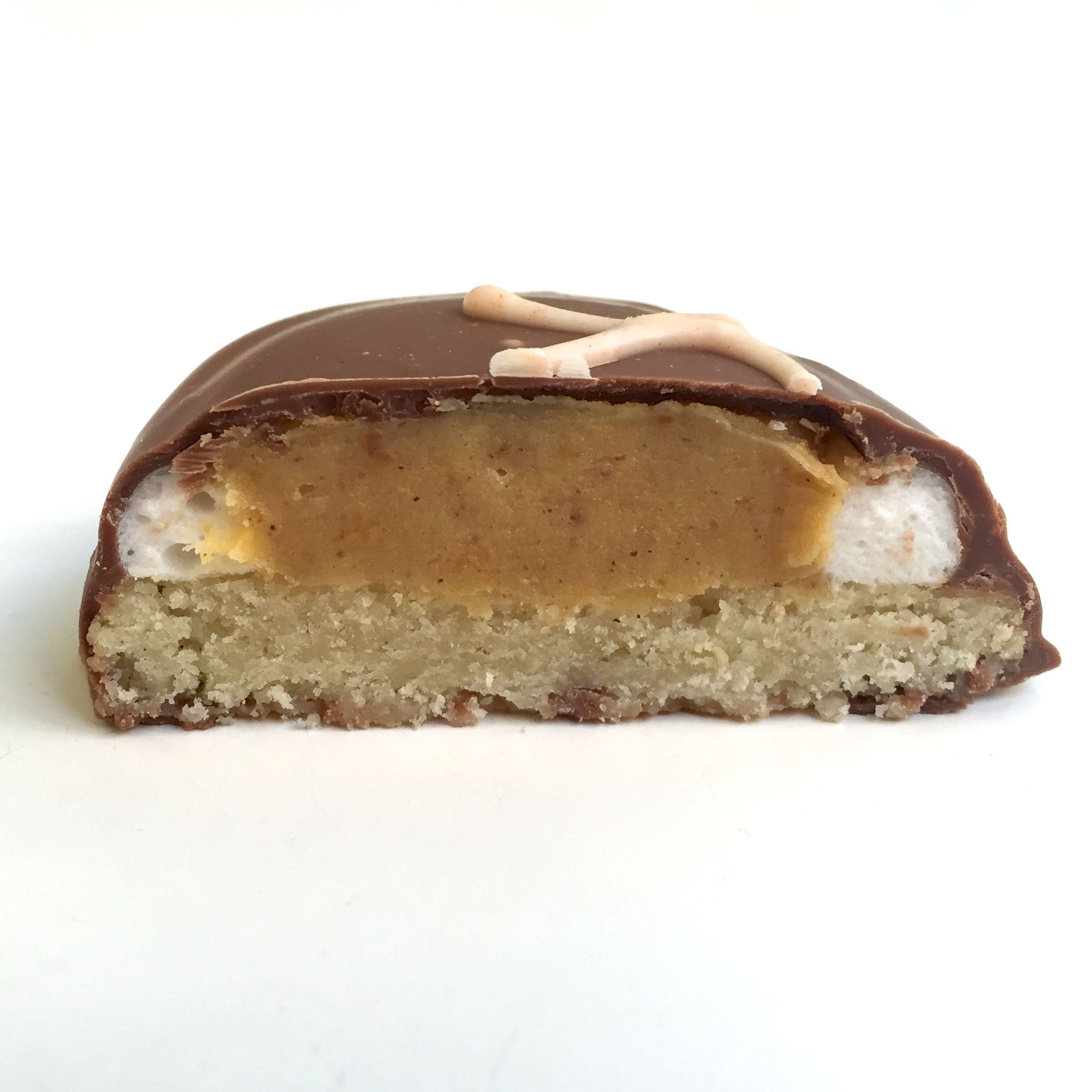 Pumpkin Pie Cookie from Liddabit Sweets! Cookie, marshmallow, pumpkin pie ganache, milk chocolate. Any questions?