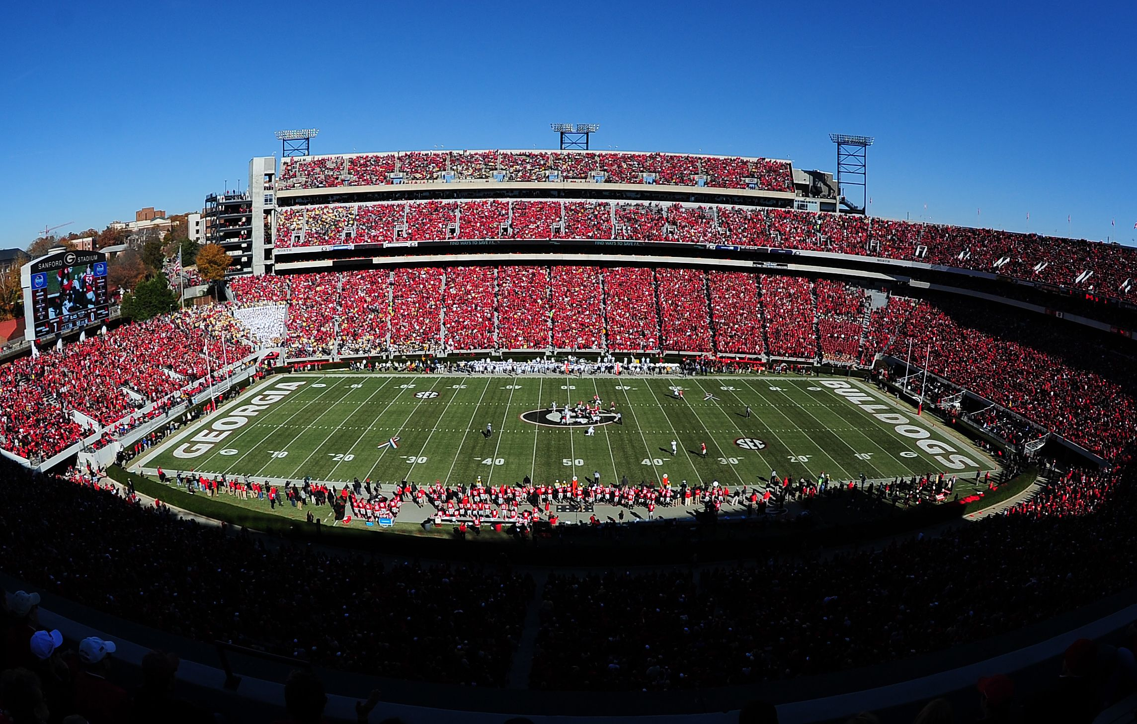 Sanford Stadium Is Home To The University Of Georgia Bulldogs In Athens Sec College Football College Football Teams Stanford Football