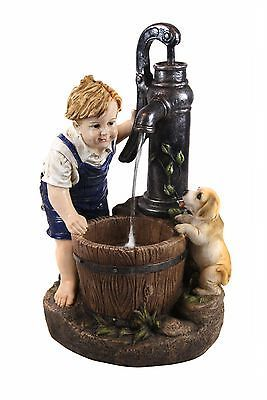 Alpine Resin/Fiberglass Boy and Girl Drinking Water Fountain with LED Light