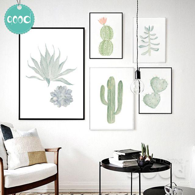 Aquarell Sukkulenten leinwand kunstdruck malereiplakat, kaktus - leinwand für wohnzimmer