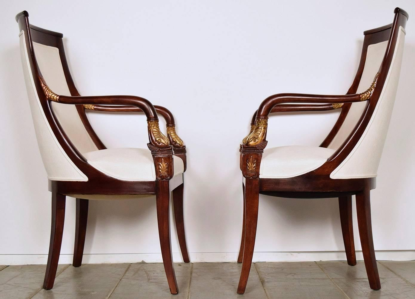 Set Of Eight Empire Style Mahogany Dining Chairs
