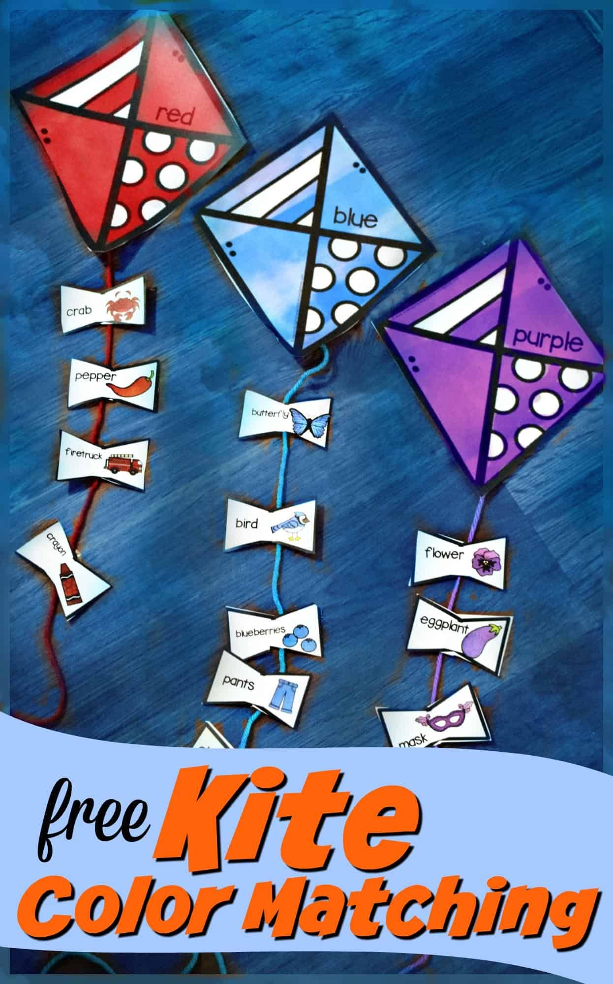 Free Kite Color Matching Activity