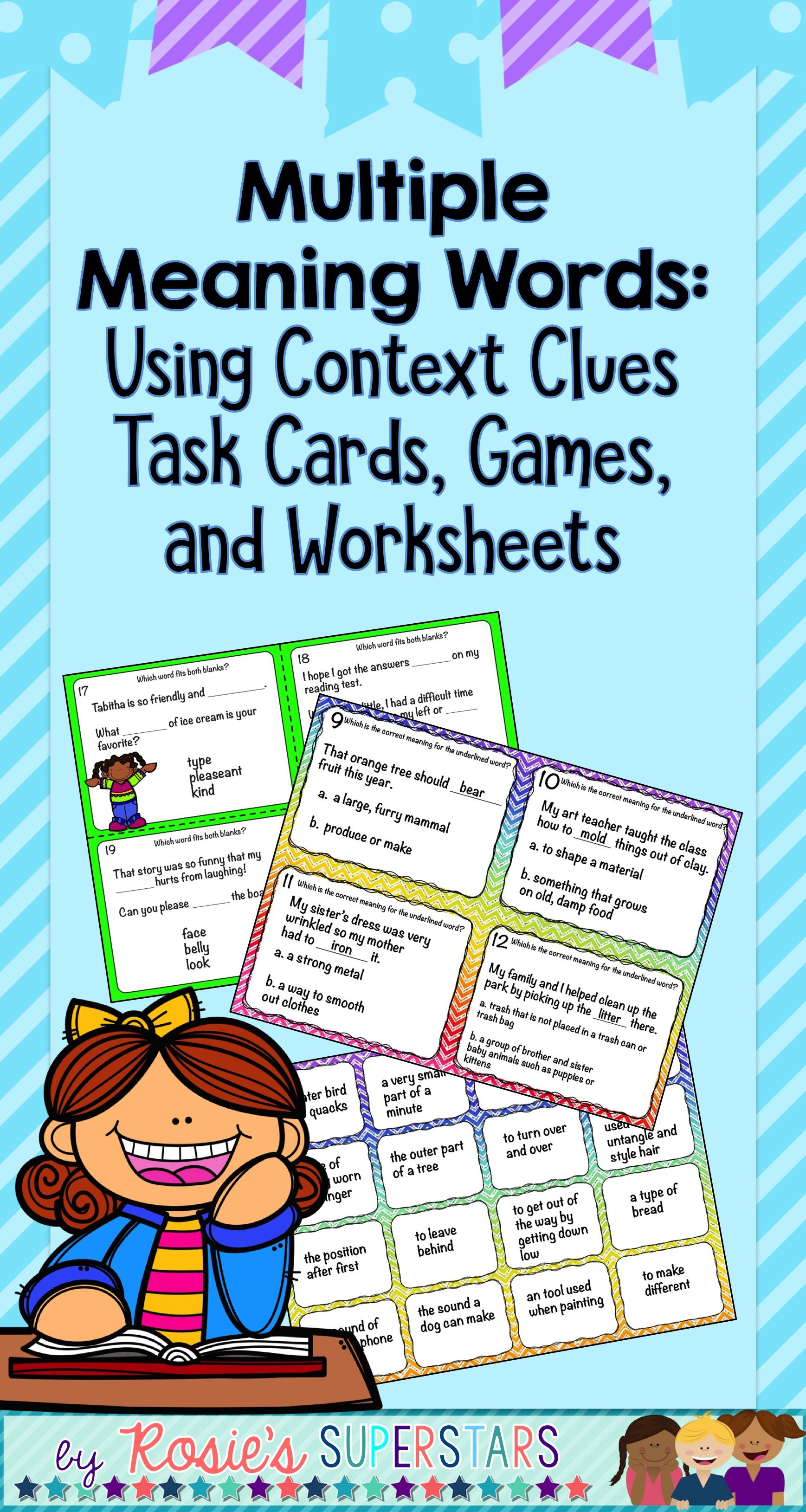 Multiple Meaning Words Bundle: Games, Task Cards With QR Codes and ...