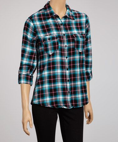 Take a look at this Black Flannel Button-Up by Coupé on #zulily today!