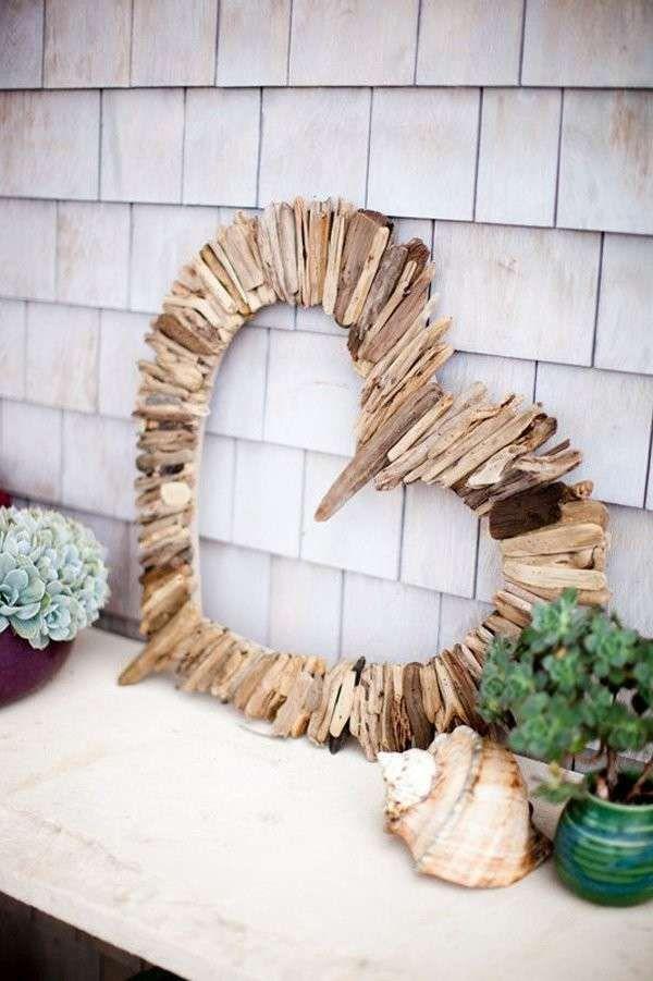 Decorazioni cuori fai da te , Cuore di legno