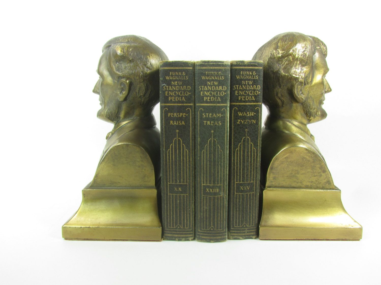 Abraham Lincoln Brass bookends, Philadelphia Manufacturing Co, Home ...