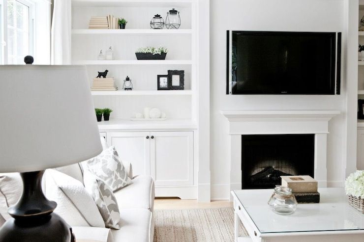 Lux Decor Beautiful Monochromatic Living Room With White Built In Bookcases And Cabinets Flanking