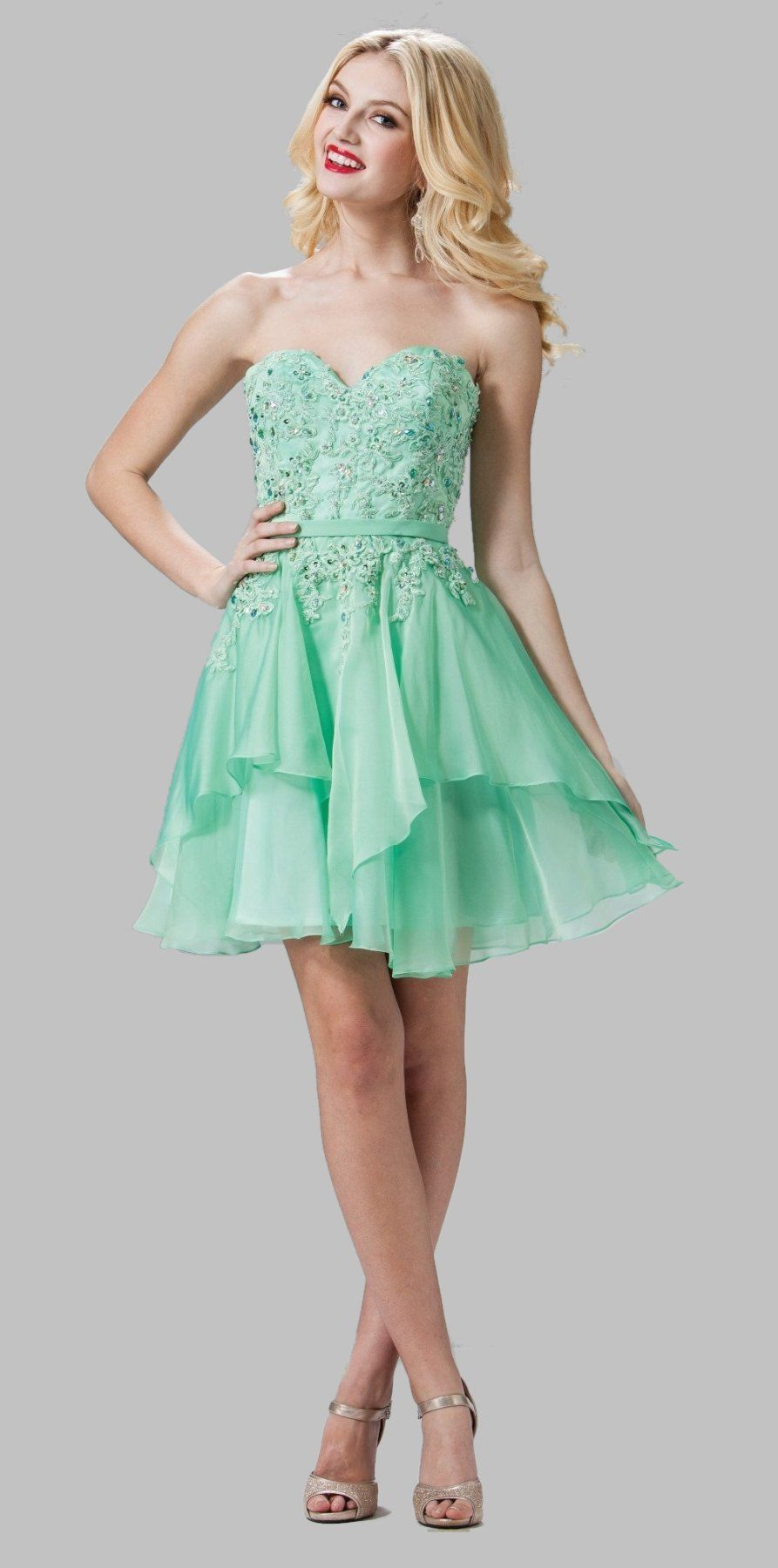 Sweetheart Neckline Light Green Sweet Sixteen Dress ...