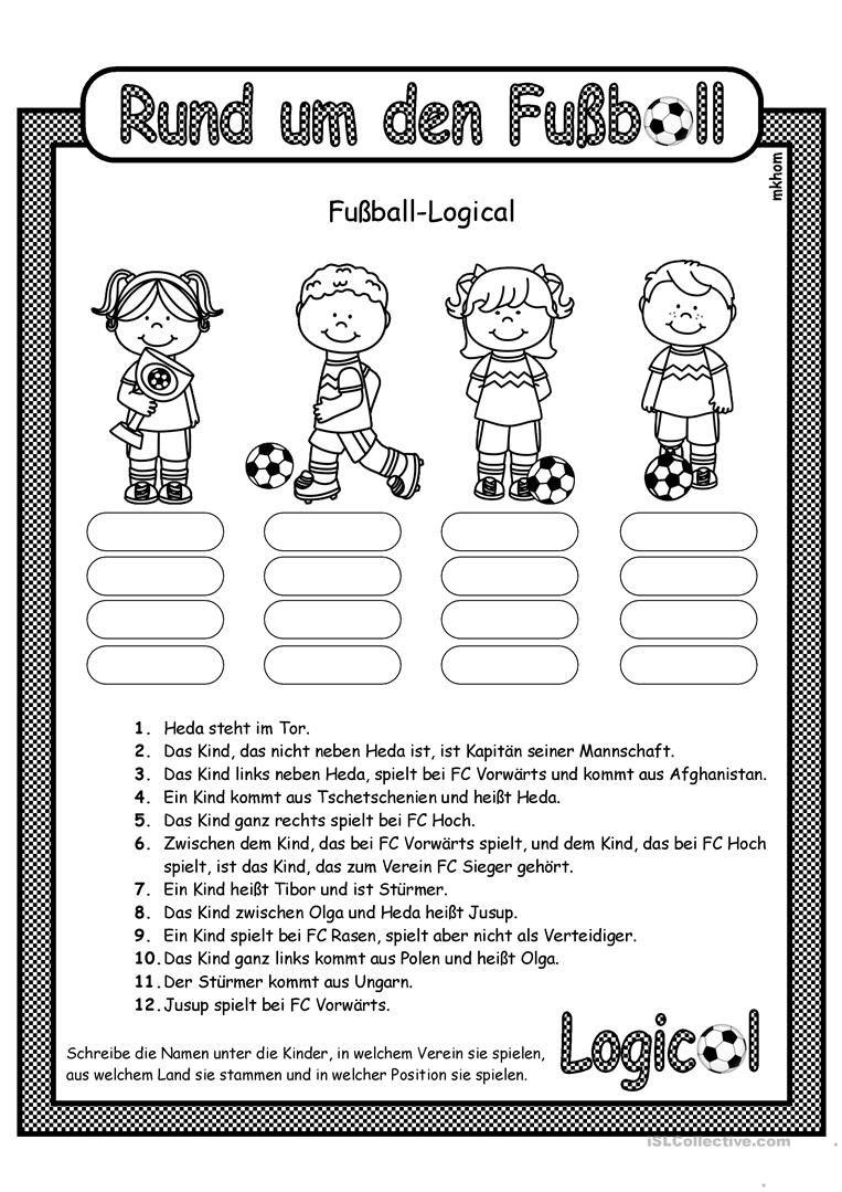 Fußball _ Logical 4 Arbeitsblatt - Kostenlose DAF Arbeitsblätter ...