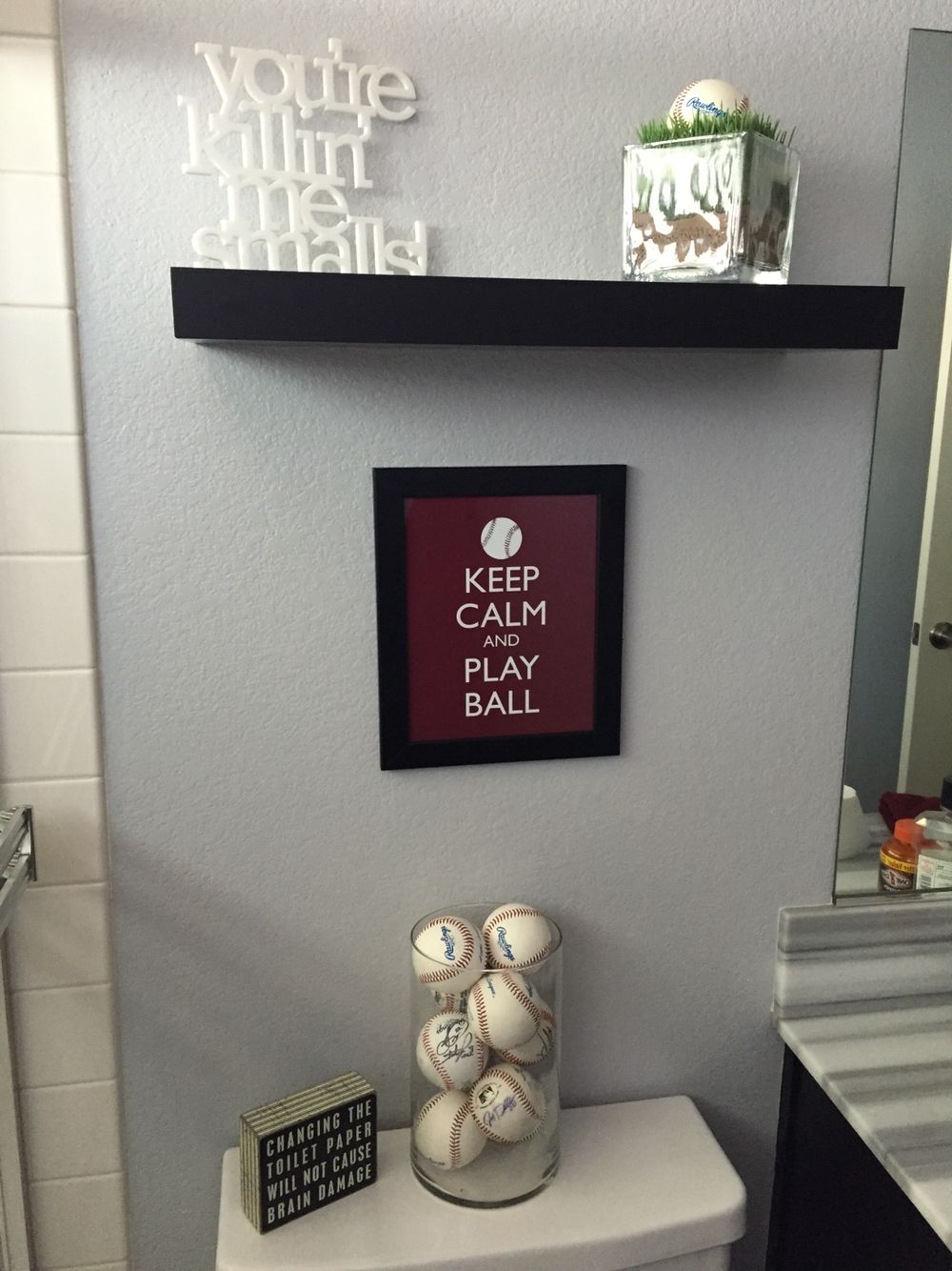 baseball themed bathroom update | bathroom update | pinterest