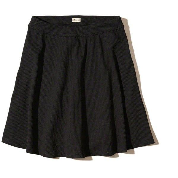 Hollister Ribbed Knit Skater Skirt (130 MYR) ❤ liked on Polyvore featuring skirts, black, ribbed knit skirt, ribbed skirt, skater skirt, flared skirts and circle skirt